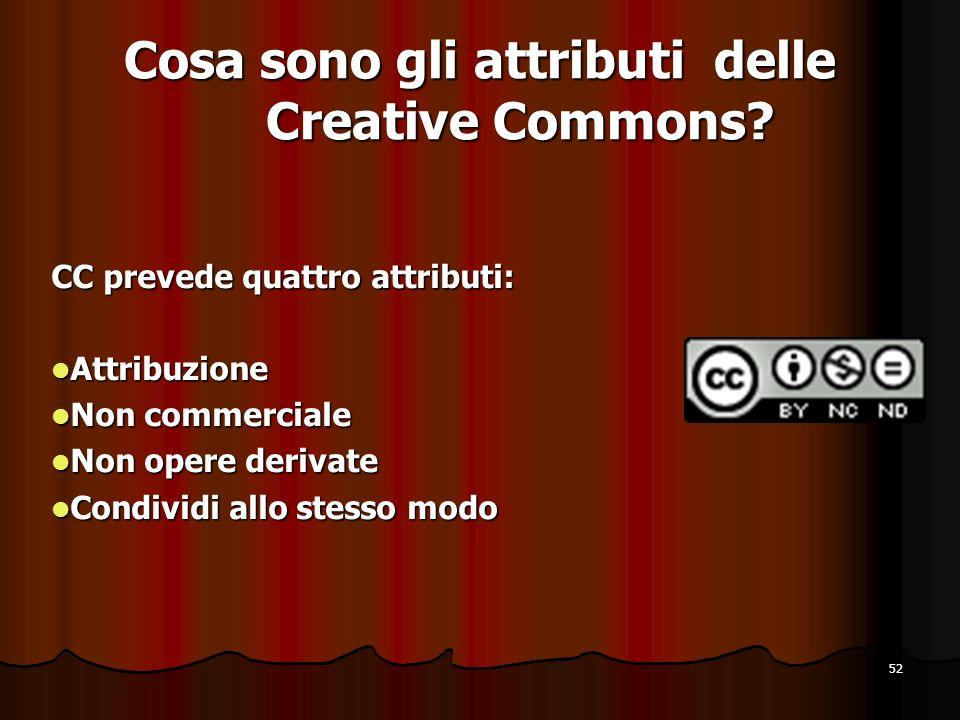 52 Cosa sono gli attributi delle Creative Commons? CC prevede quattro attributi: Attribuzione Attribuzione Non commerciale Non commerciale Non opere d
