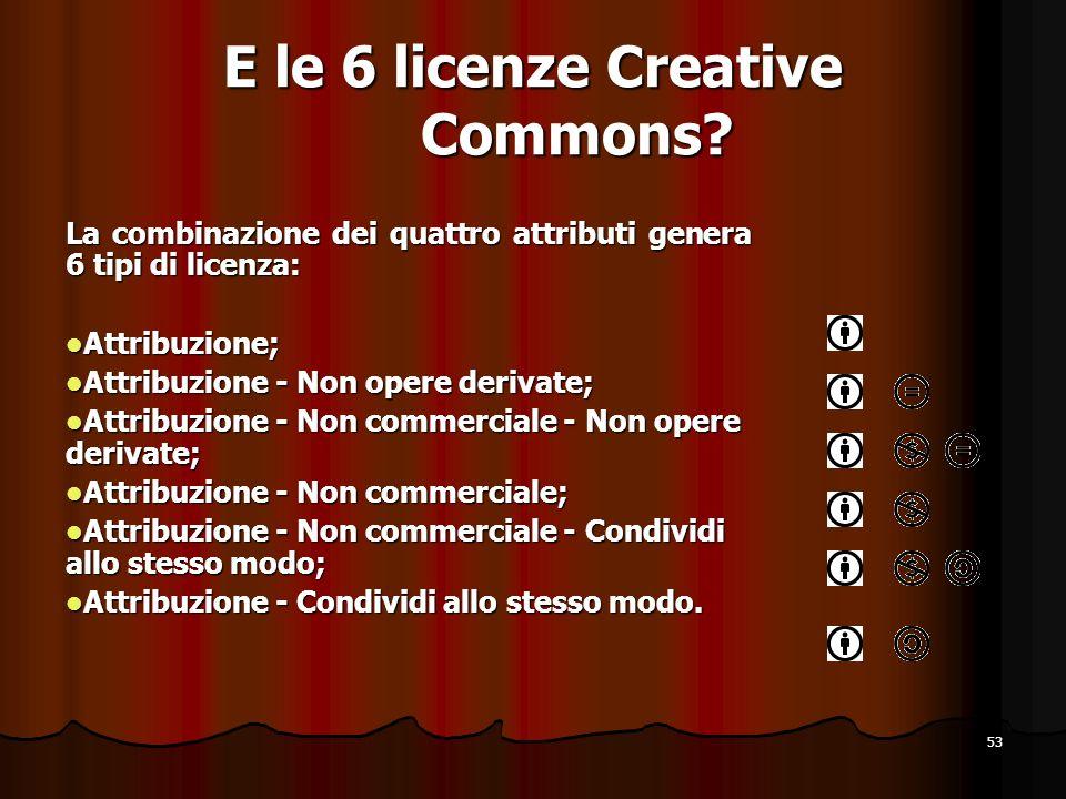 53 E le 6 licenze Creative Commons? La combinazione dei quattro attributi genera 6 tipi di licenza: Attribuzione; Attribuzione; Attribuzione - Non ope