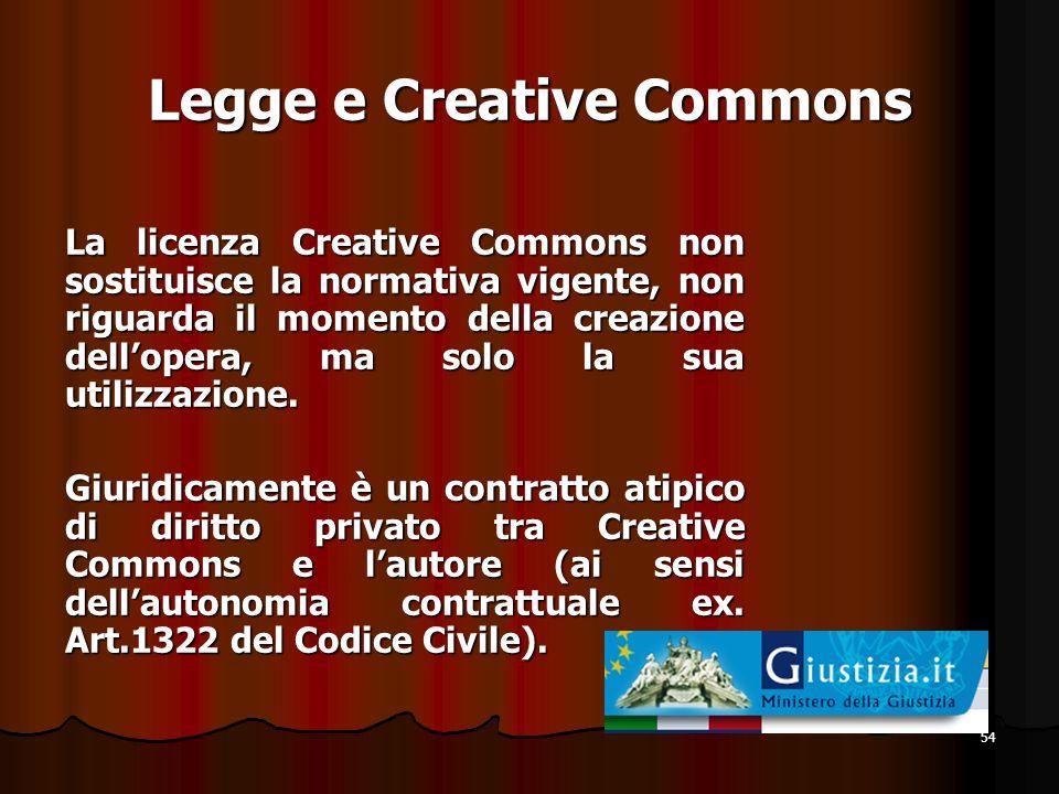 54 Legge e Creative Commons La licenza Creative Commons non sostituisce la normativa vigente, non riguarda il momento della creazione dellopera, ma so