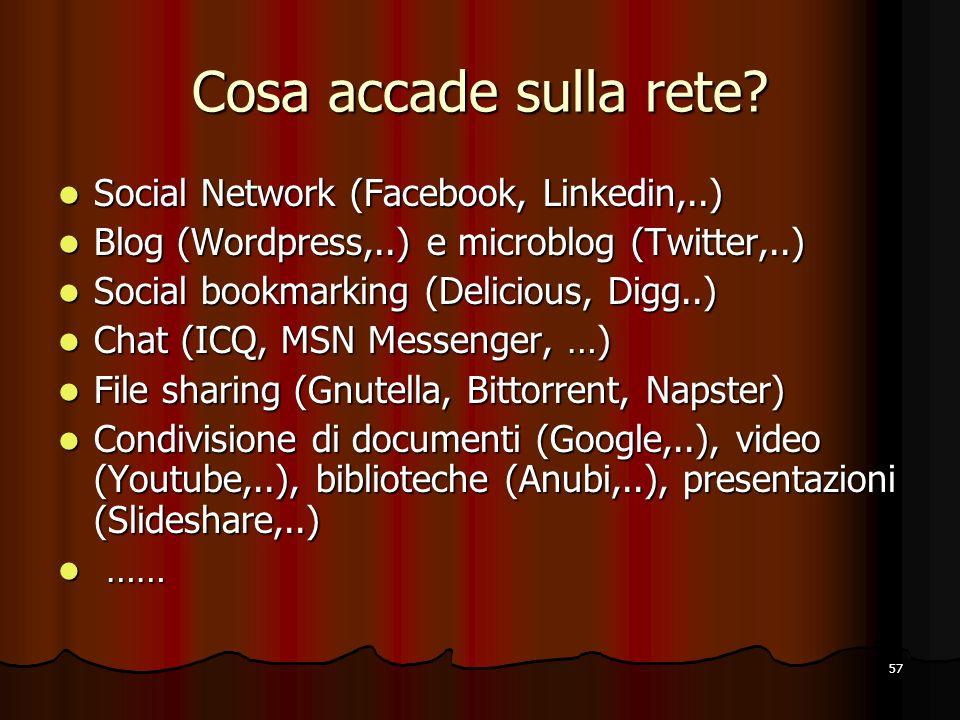 57 Cosa accade sulla rete? Social Network (Facebook, Linkedin,..) Social Network (Facebook, Linkedin,..) Blog (Wordpress,..) e microblog (Twitter,..)