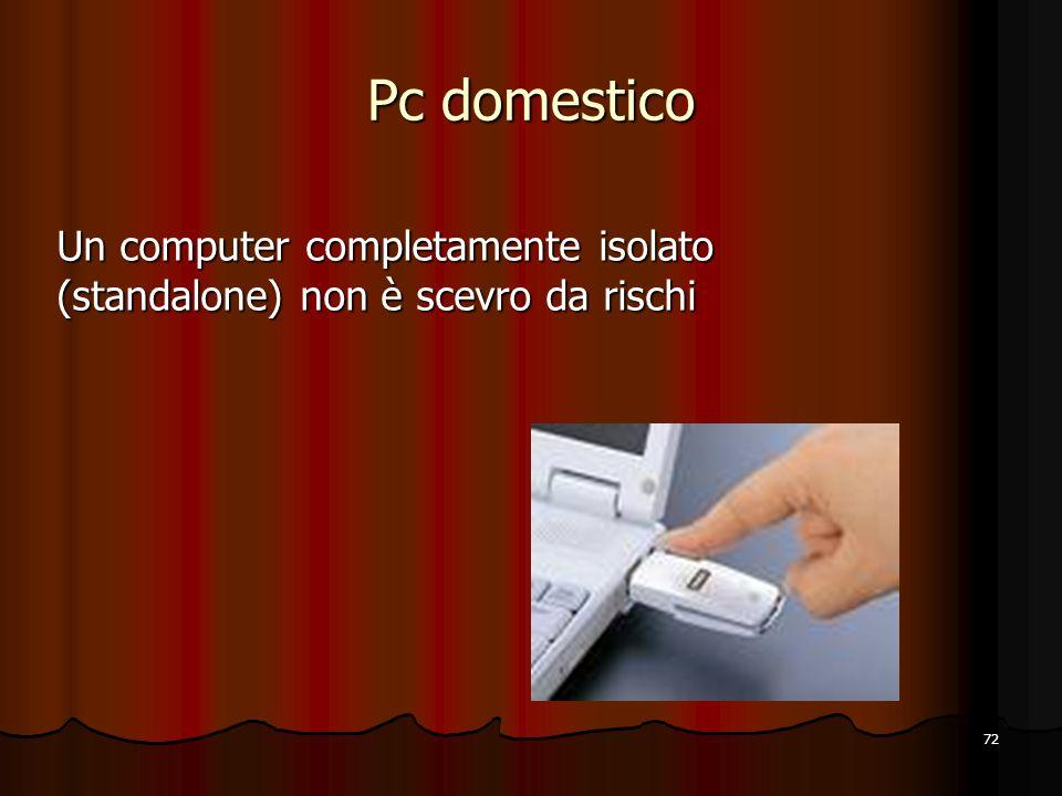 72 Pc domestico Un computer completamente isolato (standalone) non è scevro da rischi