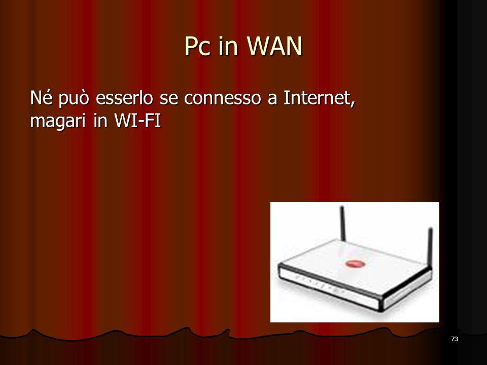 73 Pc in WAN Né può esserlo se connesso a Internet, magari in WI-FI
