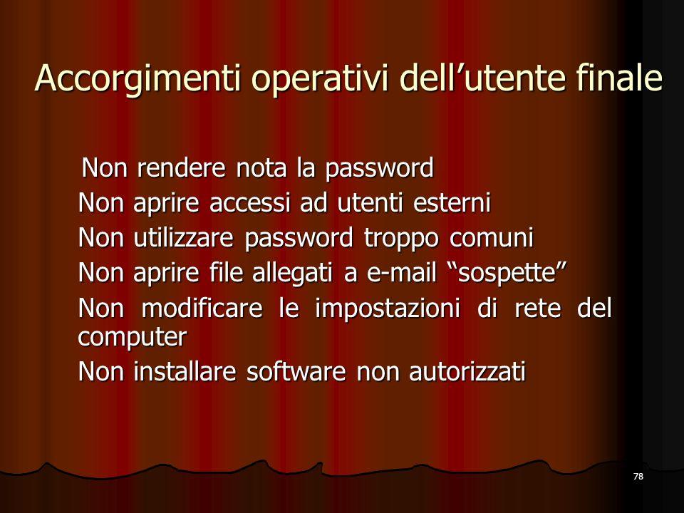 78 Accorgimenti operativi dellutente finale Non rendere nota la password Non rendere nota la password Non aprire accessi ad utenti esterni Non utilizz