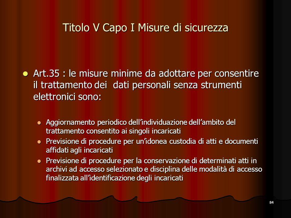 84 Titolo V Capo I Misure di sicurezza Art.35 : le misure minime da adottare per consentire il trattamento dei dati personali senza strumenti elettron