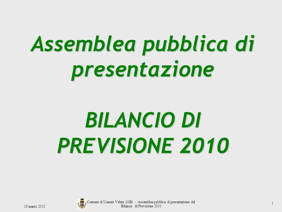 18 marzo 2010 Comune di Usmate Velate (MB) - Assemblea pubblica di presentazione del Bilancio di Previsione 2010 Assemblea pubblica di presentazione B