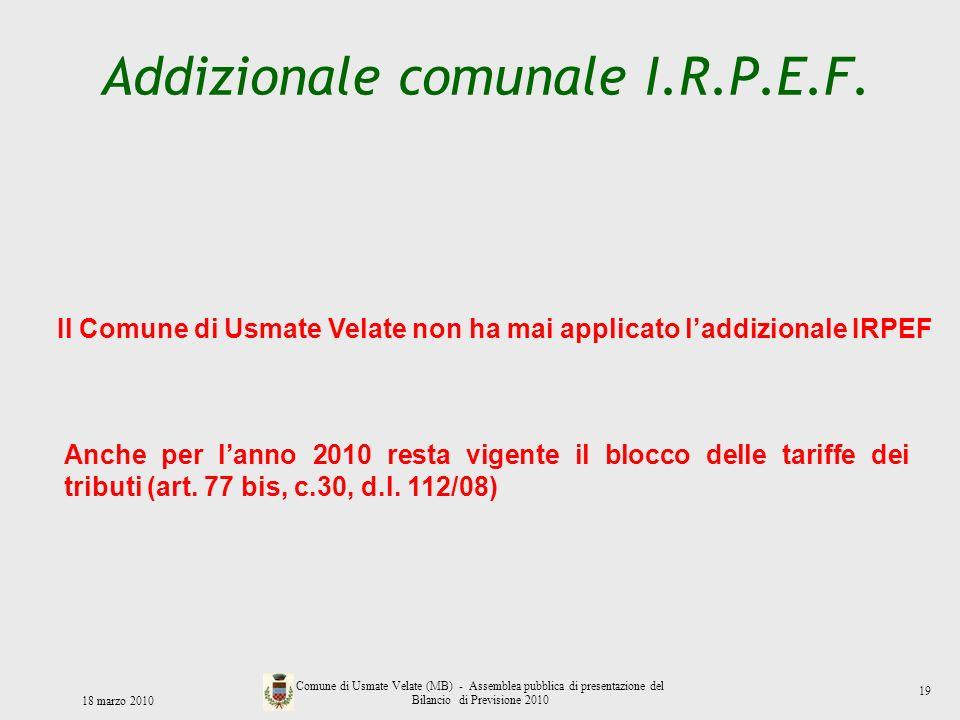 Addizionale comunale I.R.P.E.F. 18 marzo 2010 Comune di Usmate Velate (MB) - Assemblea pubblica di presentazione del Bilancio di Previsione 2010 Il Co