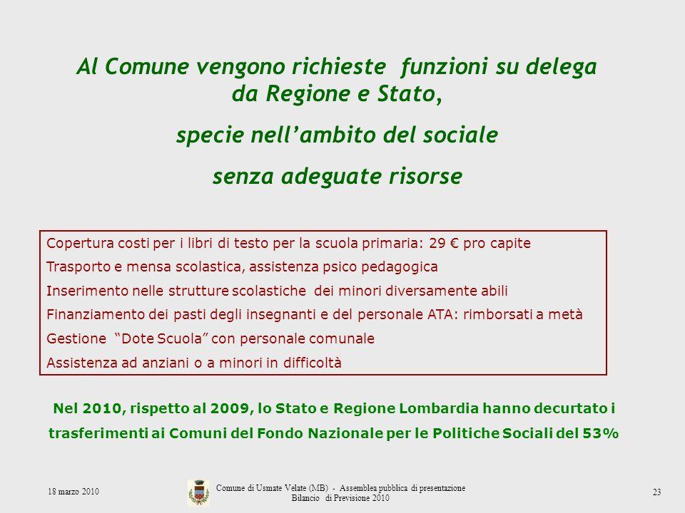 Al Comune vengono richieste funzioni su delega da Regione e Stato, specie nellambito del sociale senza adeguate risorse Copertura costi per i libri di