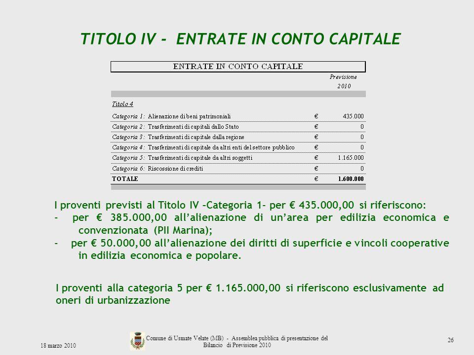 TITOLO IV - ENTRATE IN CONTO CAPITALE 18 marzo 2010 Comune di Usmate Velate (MB) - Assemblea pubblica di presentazione del Bilancio di Previsione 2010