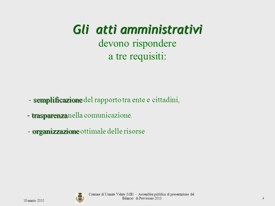 Gli atti amministrativi devono rispondere a tre requisiti: semplificazione - semplificazione del rapporto tra ente e cittadini, trasparenza - traspare