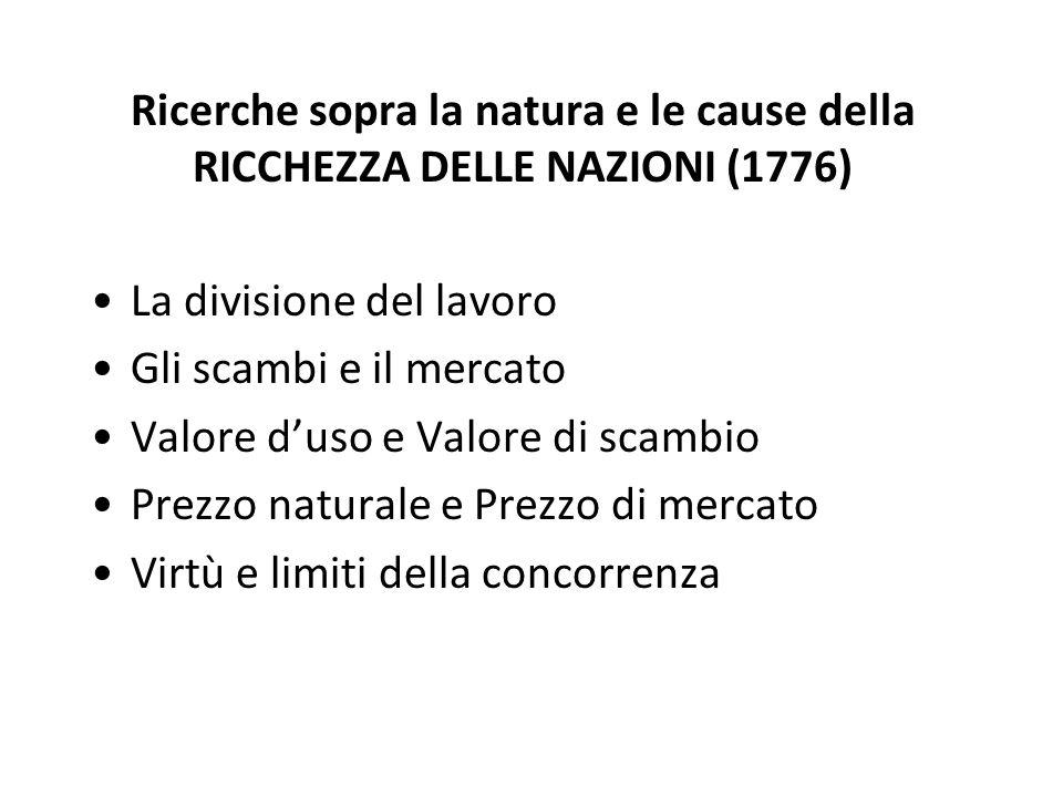 Ricerche sopra la natura e le cause della RICCHEZZA DELLE NAZIONI (1776) La divisione del lavoro Gli scambi e il mercato Valore duso e Valore di scamb