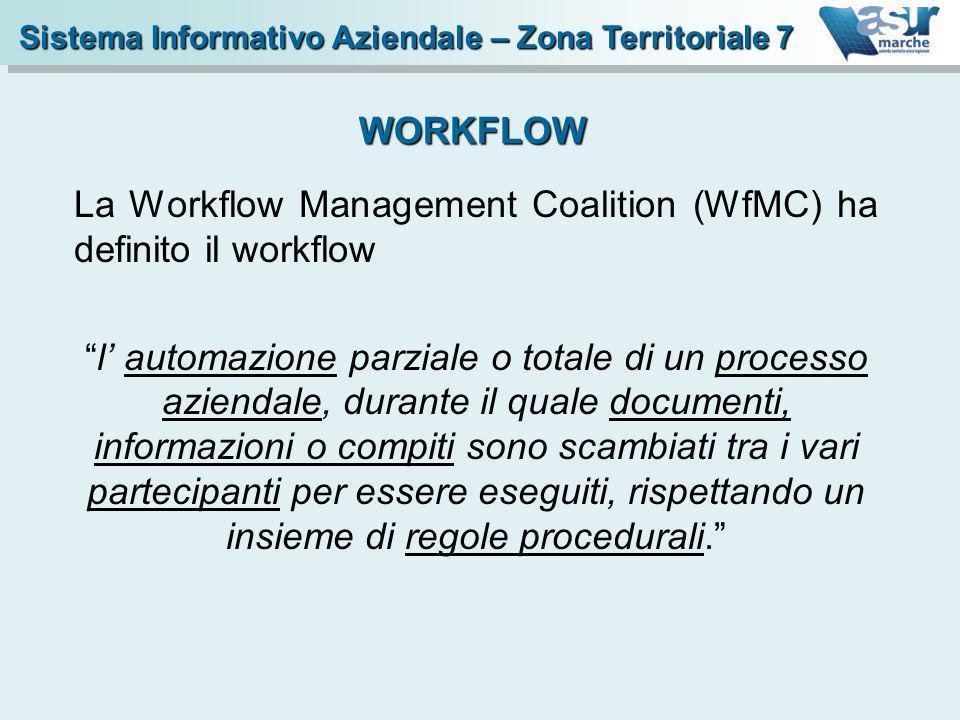 La Workflow Management Coalition (WfMC) ha definito il workflow l automazione parziale o totale di un processo aziendale, durante il quale documenti,