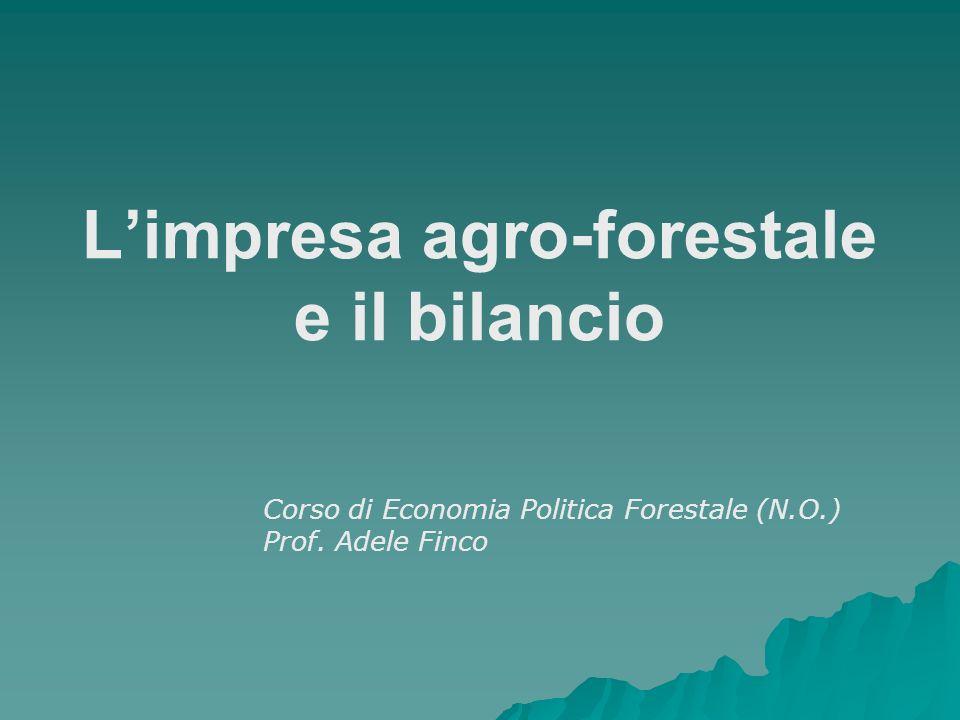 Limpresa agro-forestale e il bilancio Corso di Economia Politica Forestale (N.O.) Prof. Adele Finco