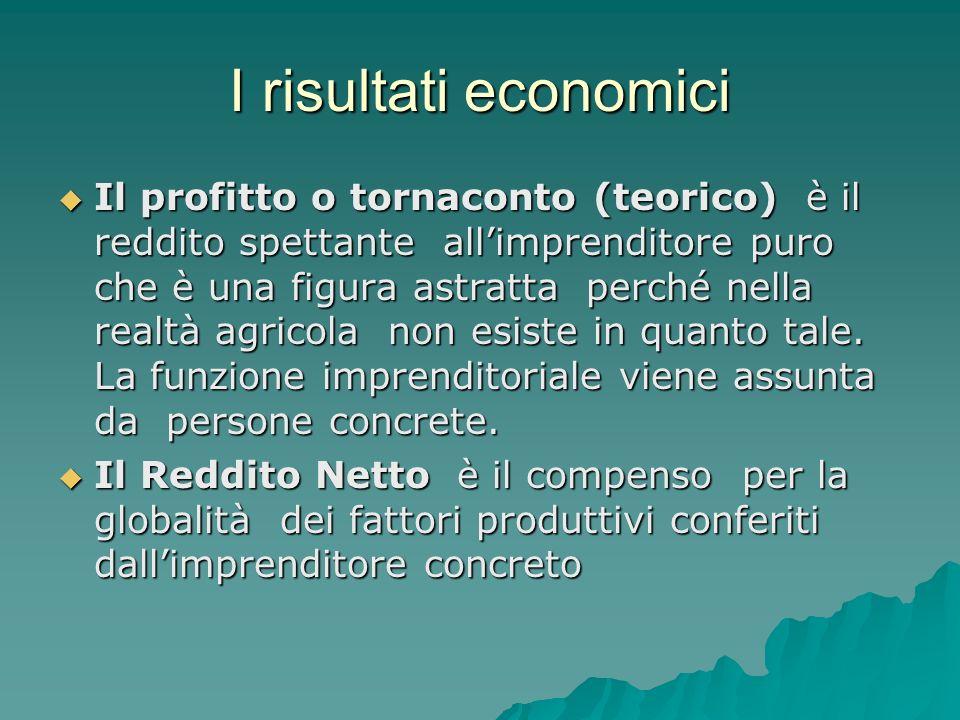 I risultati economici Il profitto o tornaconto (teorico) è il reddito spettante allimprenditore puro che è una figura astratta perché nella realtà agricola non esiste in quanto tale.