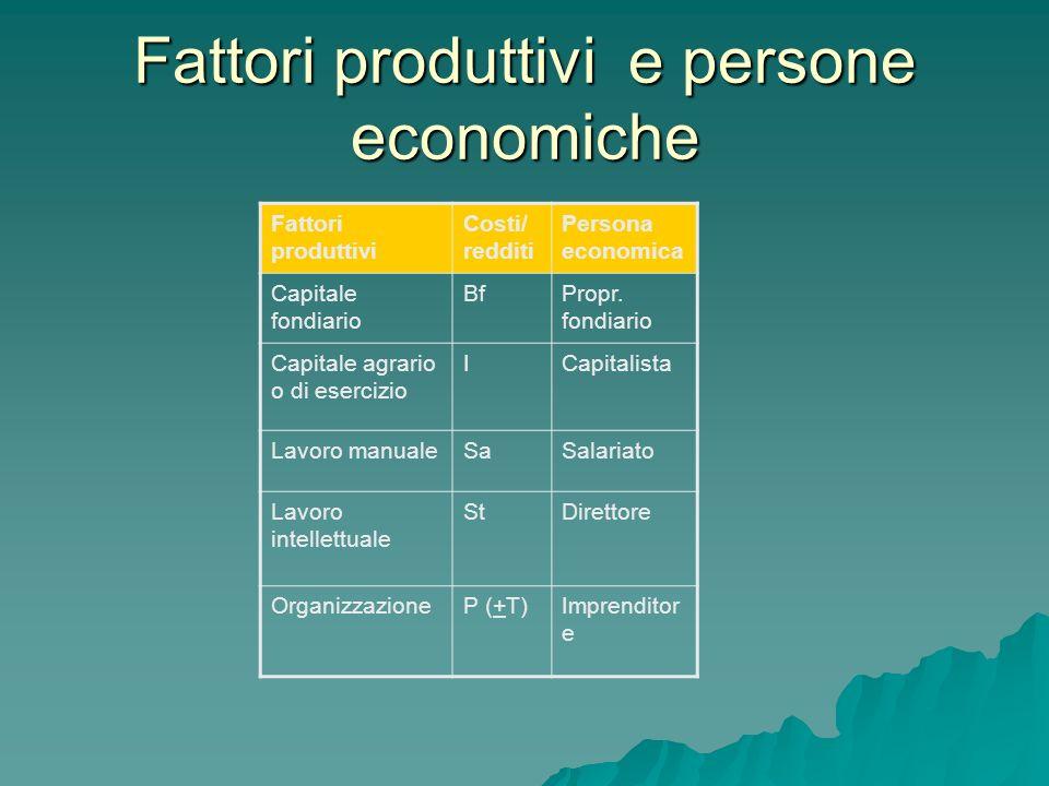 Fattori produttivi e persone economiche Fattori produttivi Costi/ redditi Persona economica Capitale fondiario BfPropr. fondiario Capitale agrario o d