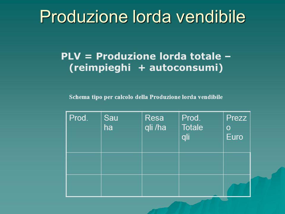 Produzione lorda vendibile PLV = Produzione lorda totale – (reimpieghi + autoconsumi) Prod.Sau ha Resa qli /ha Prod. Totale qli Prezz o Euro Schema ti