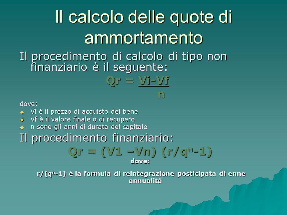 Il calcolo delle quote di ammortamento Il procedimento di calcolo di tipo non finanziario è il seguente: Qr = Vi-Vf ndove: Vi è il prezzo di acquisto del bene Vi è il prezzo di acquisto del bene Vf è il valore finale o di recupero Vf è il valore finale o di recupero n sono gli anni di durata del capitale n sono gli anni di durata del capitale Il procedimento finanziario: Qr = (V1 –Vn) (r/q n -1) dove: r/(q n -1) è la formula di reintegrazione posticipata di enne annualità r/(q n -1) è la formula di reintegrazione posticipata di enne annualità