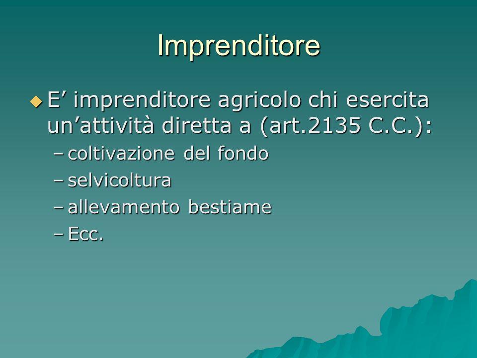 Imprenditore E imprenditore agricolo chi esercita unattività diretta a (art.2135 C.C.): E imprenditore agricolo chi esercita unattività diretta a (art