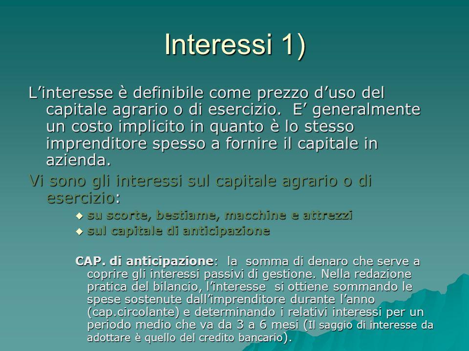 Interessi 1) Linteresse è definibile come prezzo duso del capitale agrario o di esercizio. E generalmente un costo implicito in quanto è lo stesso imp