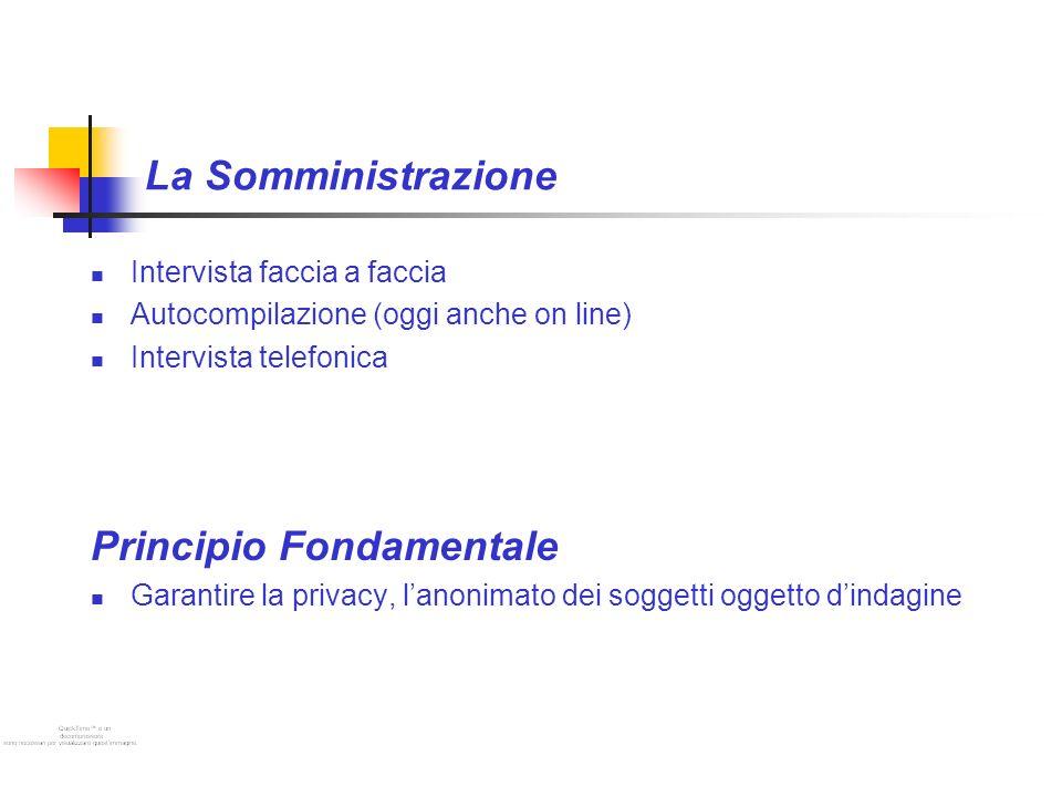 La Somministrazione Intervista faccia a faccia Autocompilazione (oggi anche on line) Intervista telefonica Principio Fondamentale Garantire la privacy, lanonimato dei soggetti oggetto dindagine
