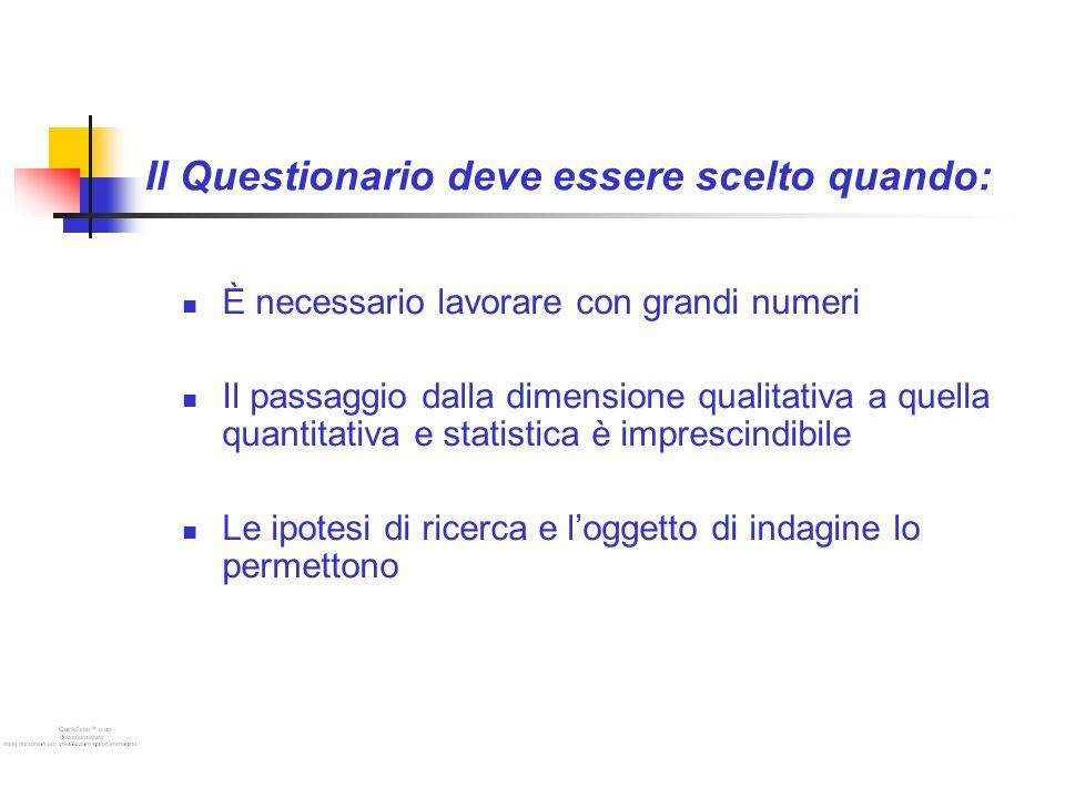 Il Questionario deve essere scelto quando: È necessario lavorare con grandi numeri Il passaggio dalla dimensione qualitativa a quella quantitativa e statistica è imprescindibile Le ipotesi di ricerca e loggetto di indagine lo permettono