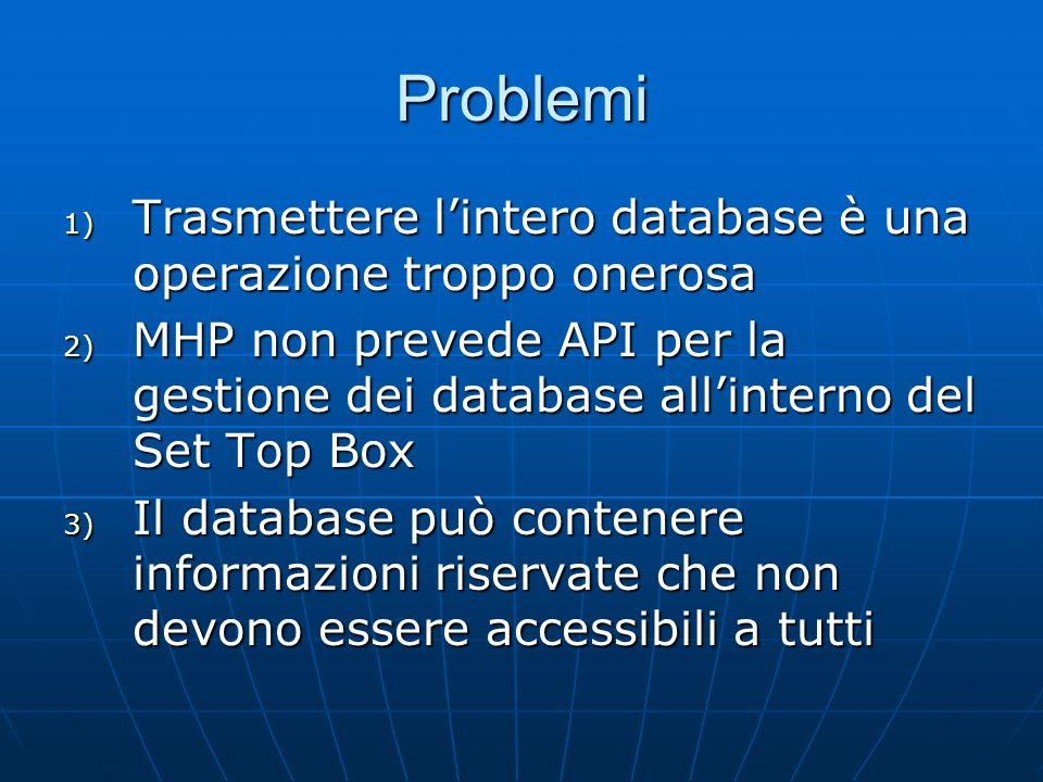 Problemi 1) Trasmettere lintero database è una operazione troppo onerosa 2) MHP non prevede API per la gestione dei database allinterno del Set Top Box 3) Il database può contenere informazioni riservate che non devono essere accessibili a tutti