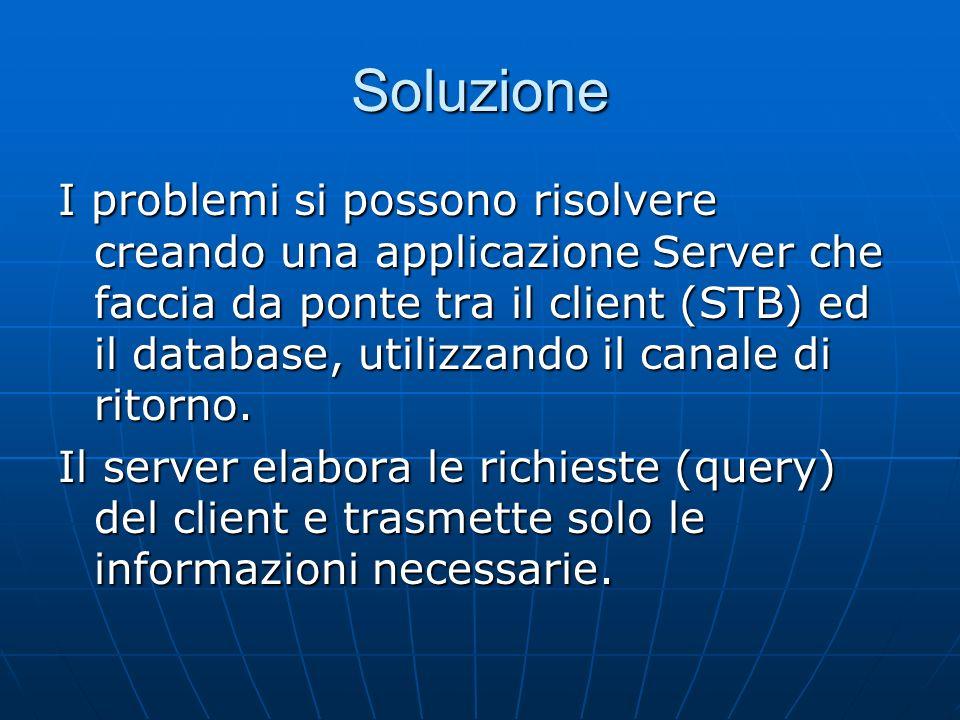Soluzione I problemi si possono risolvere creando una applicazione Server che faccia da ponte tra il client (STB) ed il database, utilizzando il canale di ritorno.