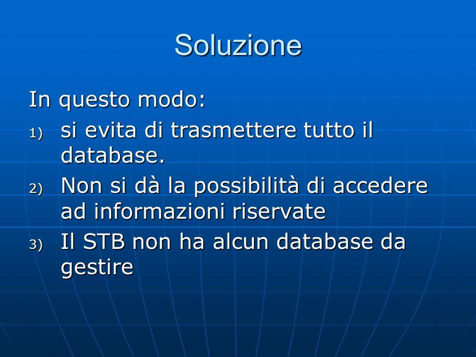 Soluzione In questo modo: 1) si evita di trasmettere tutto il database. 2) Non si dà la possibilità di accedere ad informazioni riservate 3) Il STB no