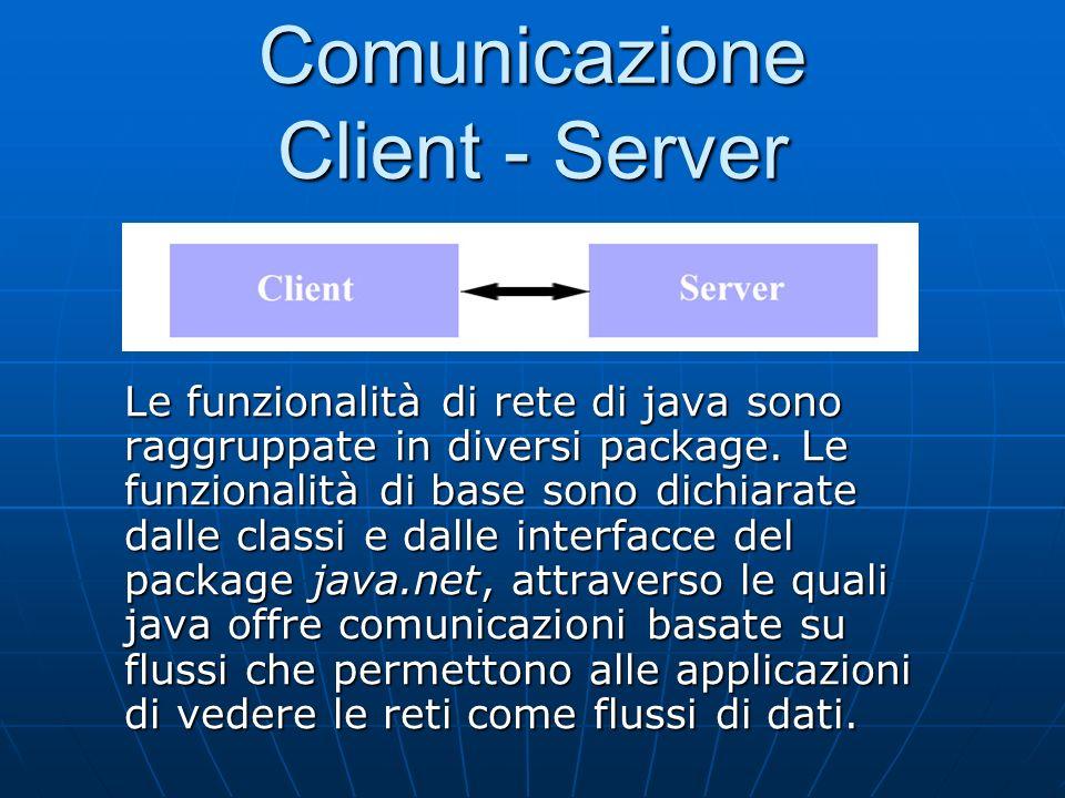 Comunicazione Client - Server Le funzionalità di rete di java sono raggruppate in diversi package. Le funzionalità di base sono dichiarate dalle class