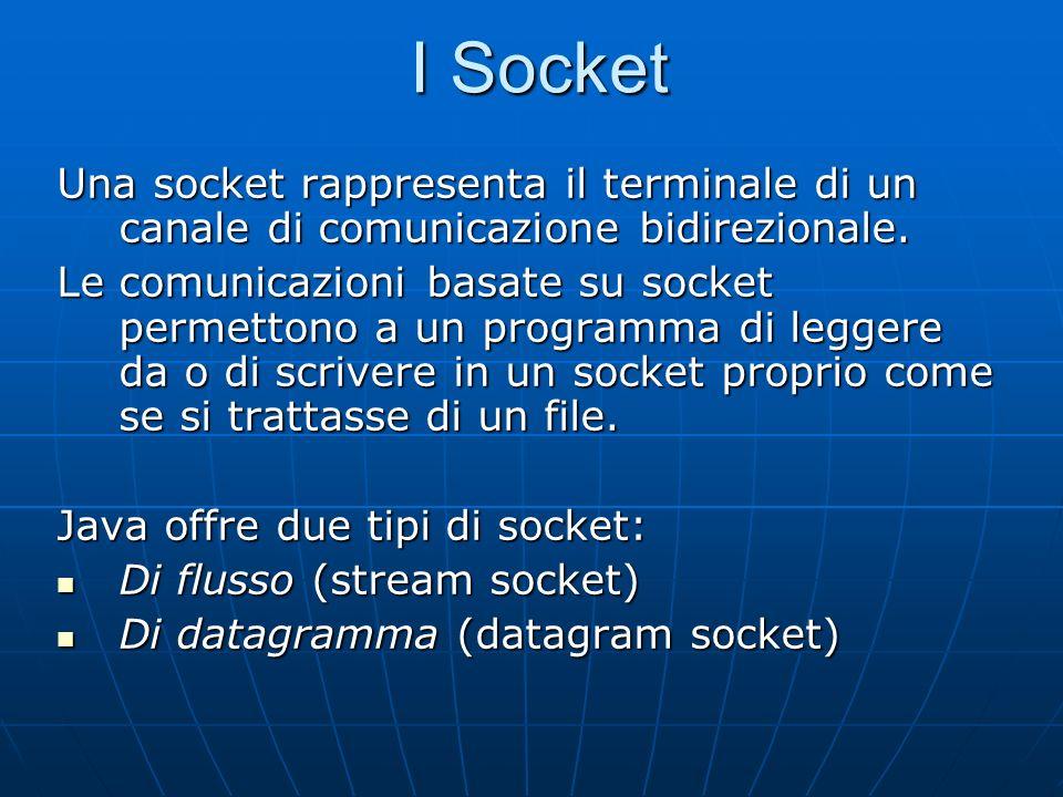 I Socket Una socket rappresenta il terminale di un canale di comunicazione bidirezionale. Le comunicazioni basate su socket permettono a un programma