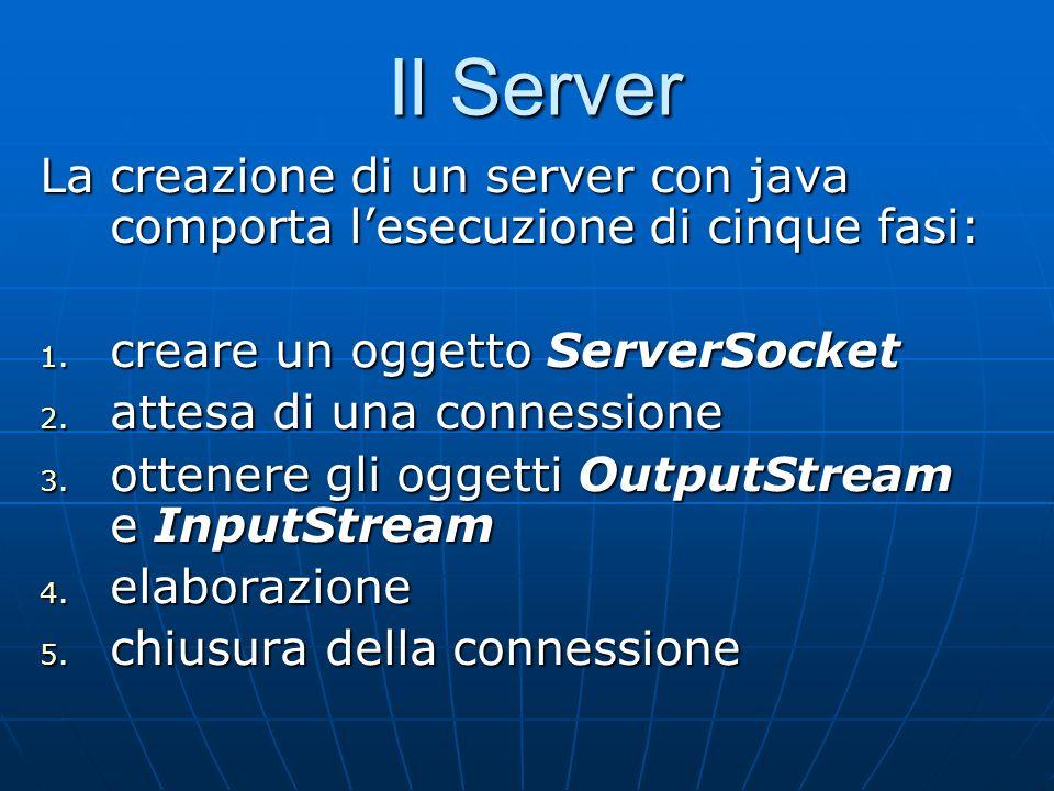 Il Server La creazione di un server con java comporta lesecuzione di cinque fasi: 1. creare un oggetto ServerSocket 2. attesa di una connessione 3. ot