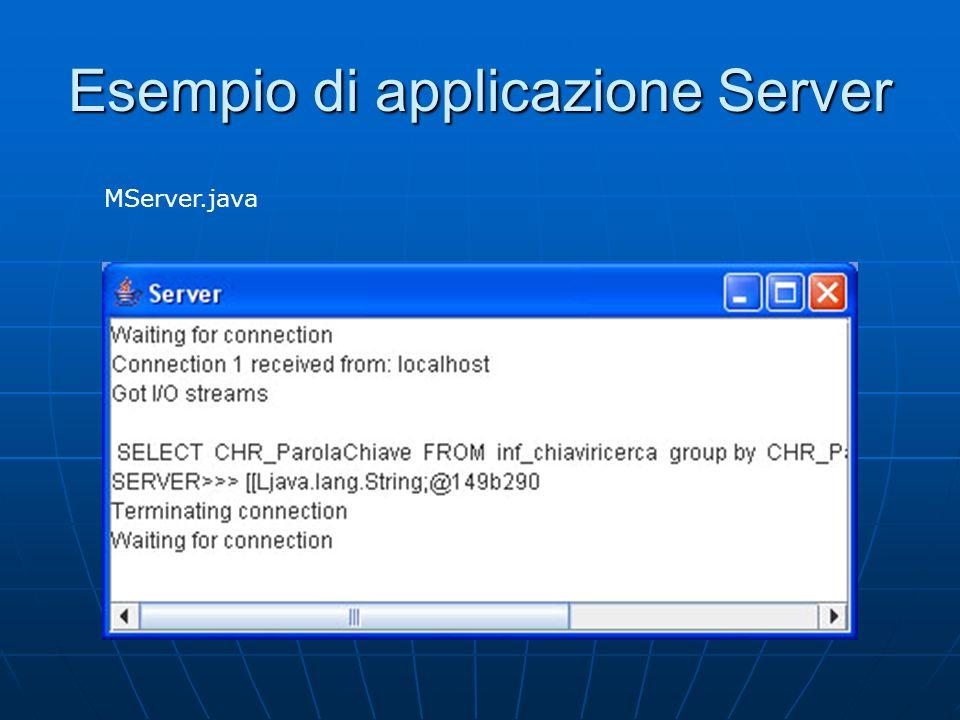 Esempio di applicazione Server MServer.java