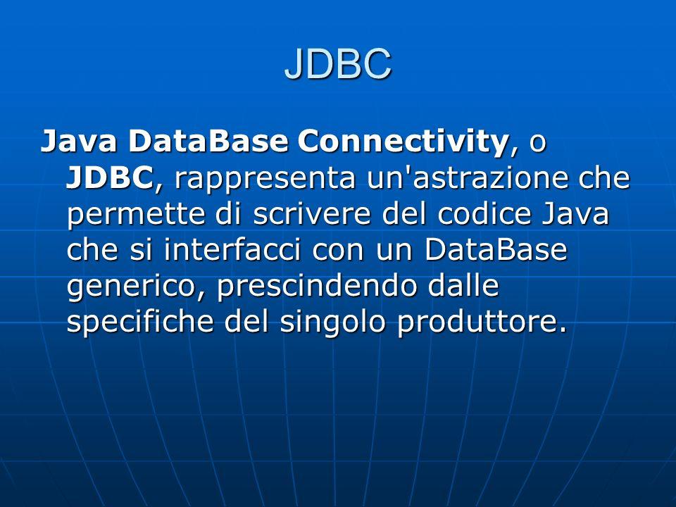 JDBC Java DataBase Connectivity, o JDBC, rappresenta un astrazione che permette di scrivere del codice Java che si interfacci con un DataBase generico, prescindendo dalle specifiche del singolo produttore.