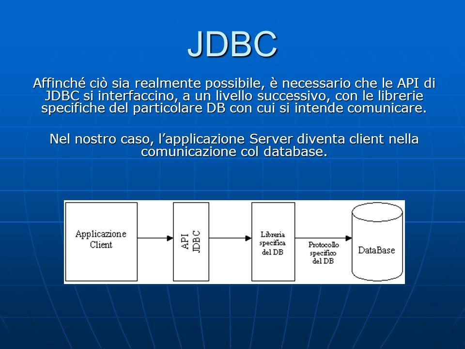 Affinché ciò sia realmente possibile, è necessario che le API di JDBC si interfaccino, a un livello successivo, con le librerie specifiche del particolare DB con cui si intende comunicare.