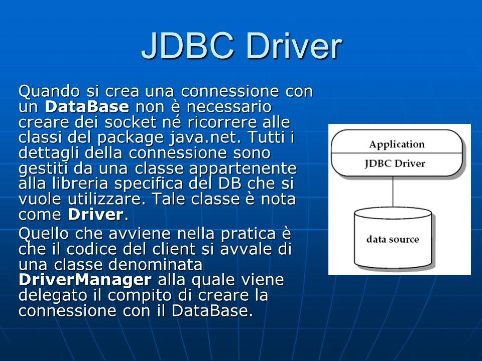 Quando si crea una connessione con un DataBase non è necessario creare dei socket né ricorrere alle classi del package java.net. Tutti i dettagli dell
