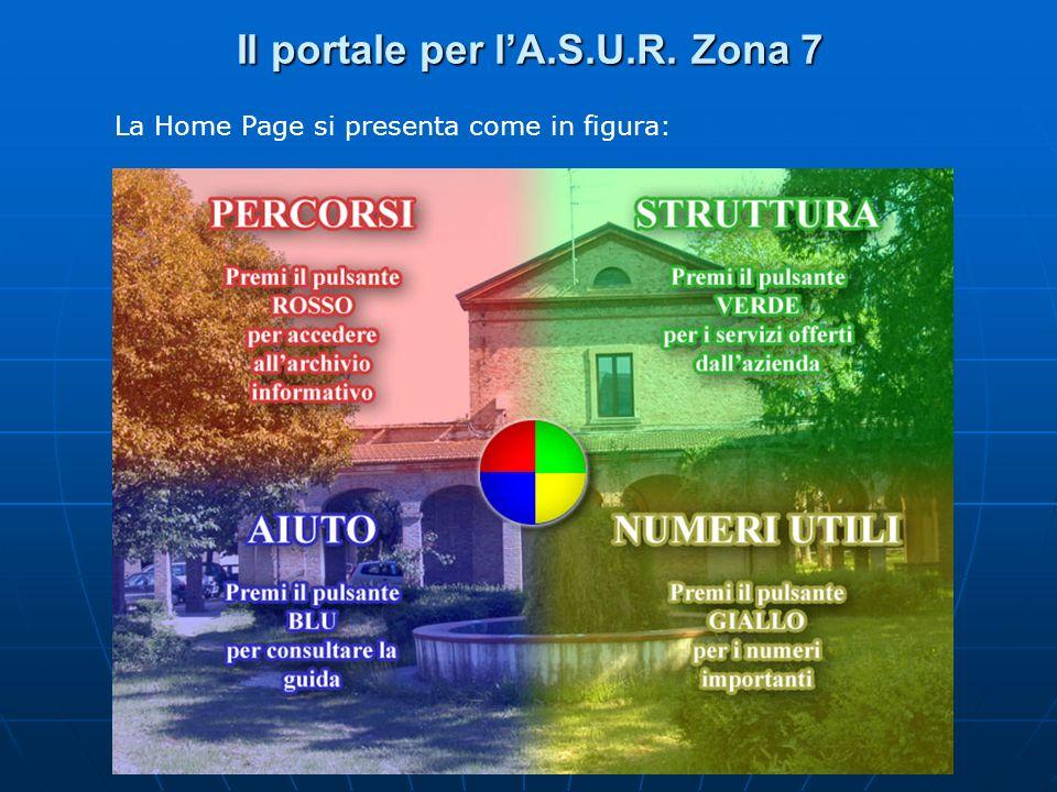 Il portale per lA.S.U.R. Zona 7 La Home Page si presenta come in figura: