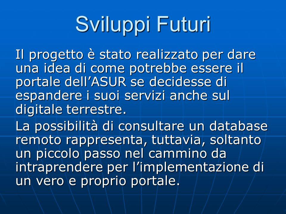 Sviluppi Futuri Il progetto è stato realizzato per dare una idea di come potrebbe essere il portale dellASUR se decidesse di espandere i suoi servizi anche sul digitale terrestre.