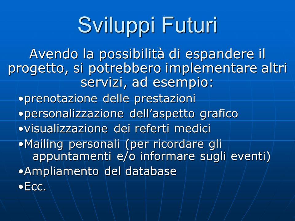 Avendo la possibilità di espandere il progetto, si potrebbero implementare altri servizi, ad esempio: prenotazione delle prestazioniprenotazione delle