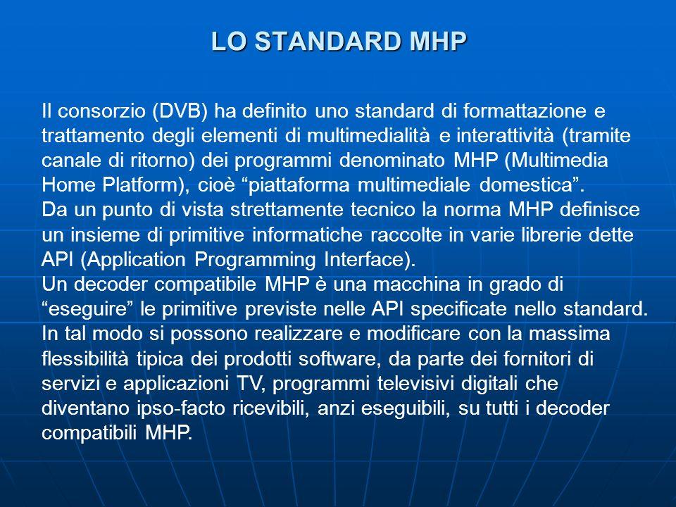 LO STANDARD MHP Il consorzio (DVB) ha definito uno standard di formattazione e trattamento degli elementi di multimedialità e interattività (tramite canale di ritorno) dei programmi denominato MHP (Multimedia Home Platform), cioè piattaforma multimediale domestica.