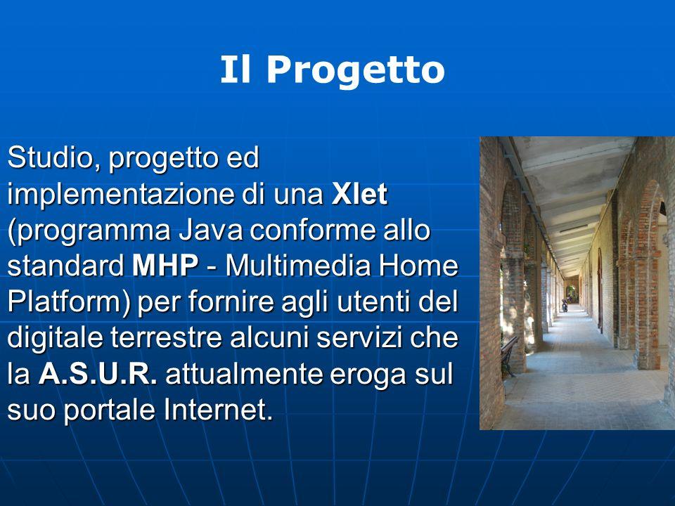 Studio, progetto ed implementazione di una Xlet (programma Java conforme allo standard MHP - Multimedia Home Platform) per fornire agli utenti del digitale terrestre alcuni servizi che la A.S.U.R.
