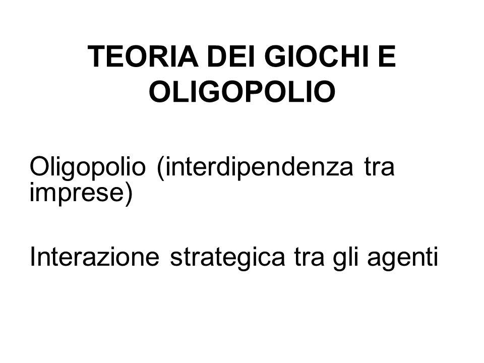 TEORIA DEI GIOCHI E OLIGOPOLIO Oligopolio (interdipendenza tra imprese) Interazione strategica tra gli agenti