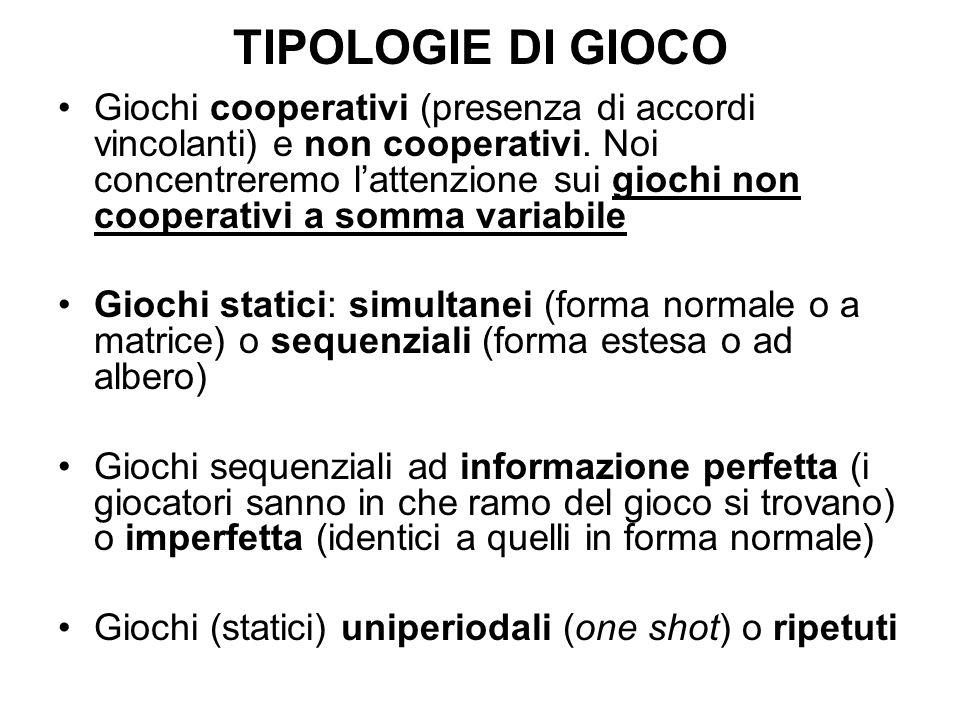 TIPOLOGIE DI GIOCO Giochi cooperativi (presenza di accordi vincolanti) e non cooperativi. Noi concentreremo lattenzione sui giochi non cooperativi a s