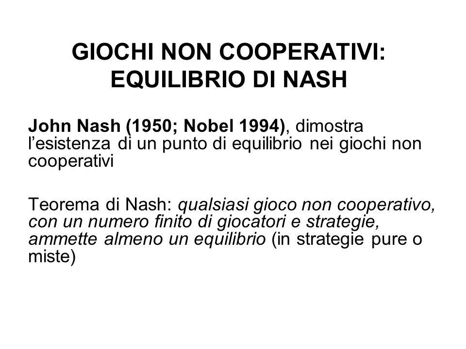 GIOCHI NON COOPERATIVI: EQUILIBRIO DI NASH John Nash (1950; Nobel 1994), dimostra lesistenza di un punto di equilibrio nei giochi non cooperativi Teor