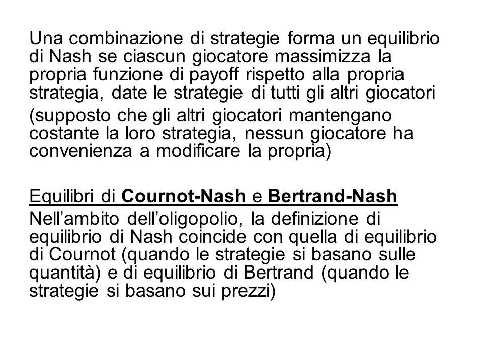 Una combinazione di strategie forma un equilibrio di Nash se ciascun giocatore massimizza la propria funzione di payoff rispetto alla propria strategi