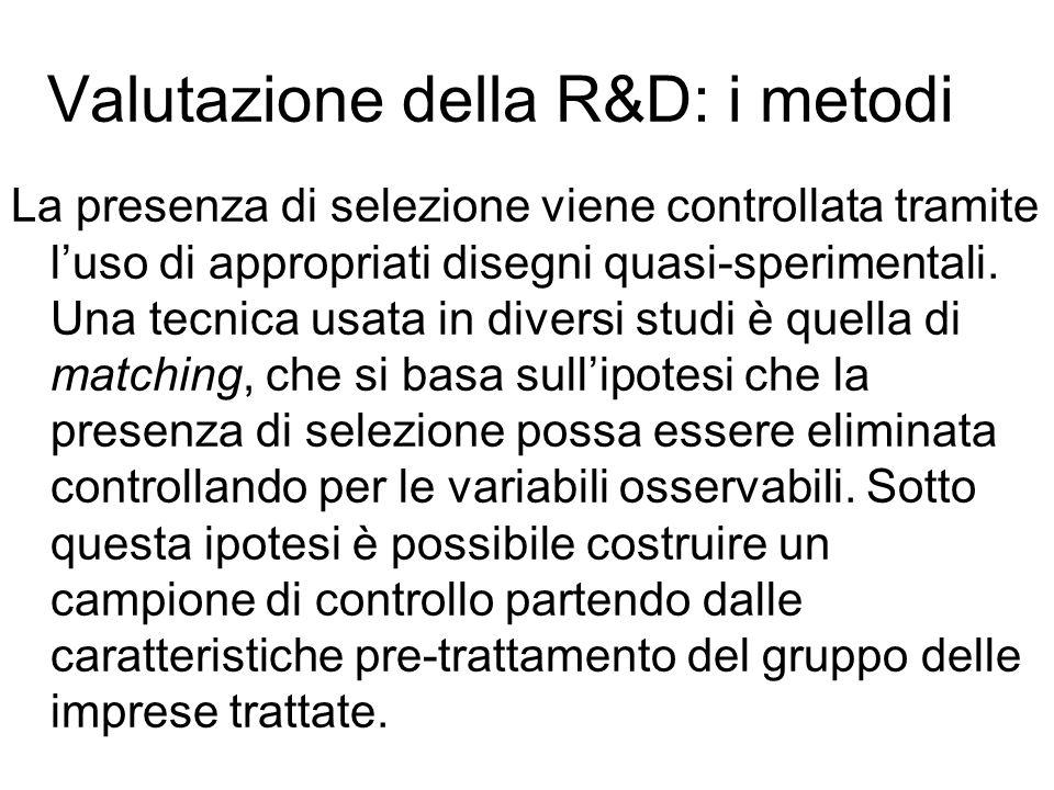 Valutazione della R&D: i metodi La presenza di selezione viene controllata tramite luso di appropriati disegni quasi-sperimentali.