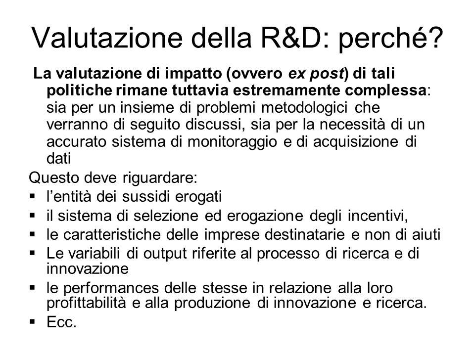 Valutazione della R&D: perché.