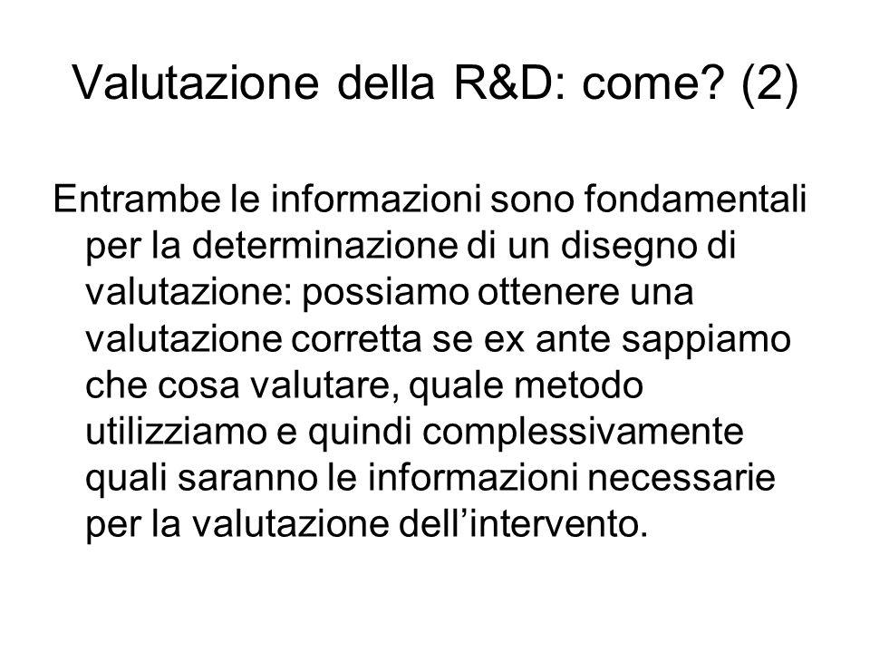 Valutazione della R&D: come.