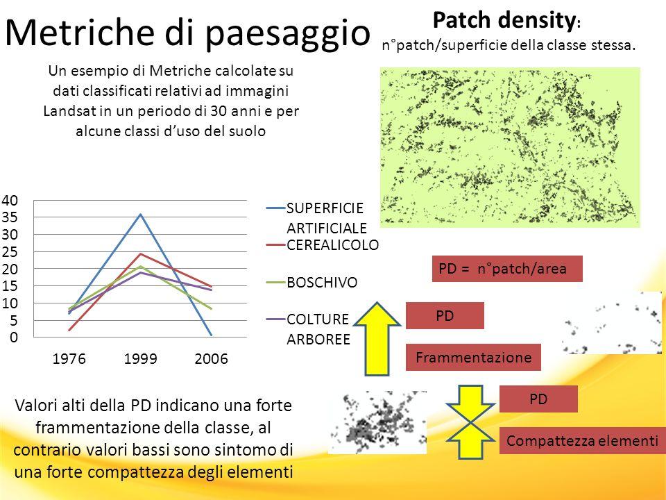 Metriche di paesaggio Un esempio di Metriche calcolate su dati classificati relativi ad immagini Landsat in un periodo di 30 anni e per alcune classi