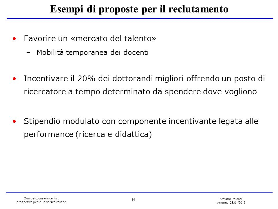 Stefano Paleari, Ancona, 25/01/2013 Competizione e incentivi: prospettive per le università italiane Favorire un «mercato del talento» –Mobilità tempo