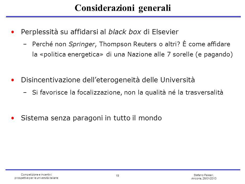 Stefano Paleari, Ancona, 25/01/2013 Competizione e incentivi: prospettive per le università italiane Perplessità su affidarsi al black box di Elsevier