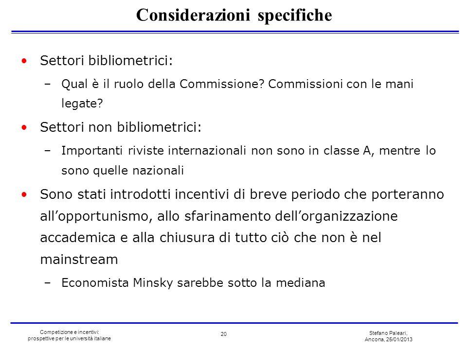 Stefano Paleari, Ancona, 25/01/2013 Competizione e incentivi: prospettive per le università italiane Settori bibliometrici: –Qual è il ruolo della Com